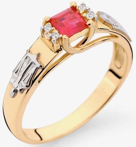 Anel Formatura Ouro 18k, Direito, Rubi Natural E Diamantes ... e8966e69c6