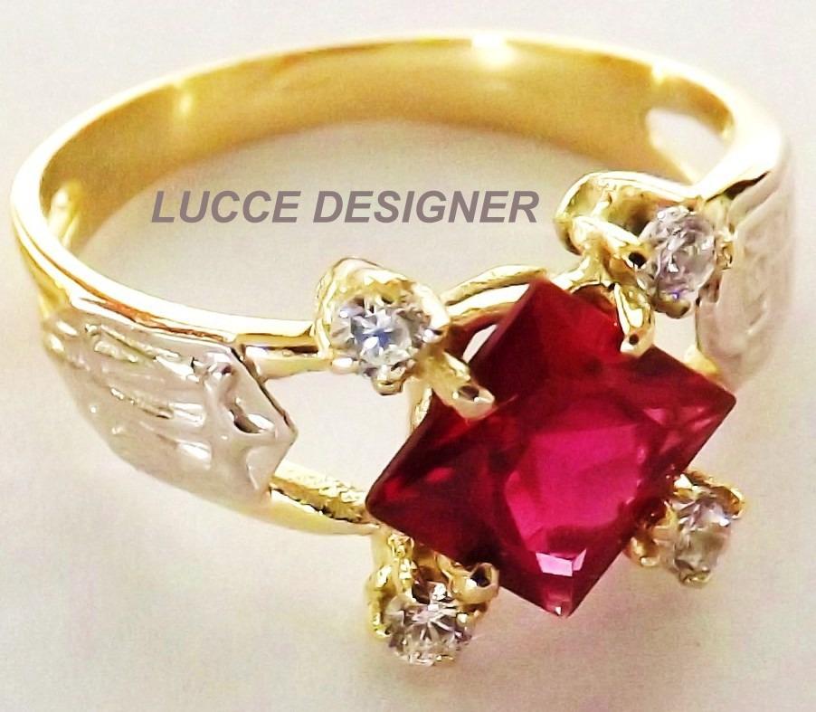 Anel Formatura grau Ouro 18k Rubi e diamantes naturais, todas as ... 045027cb05