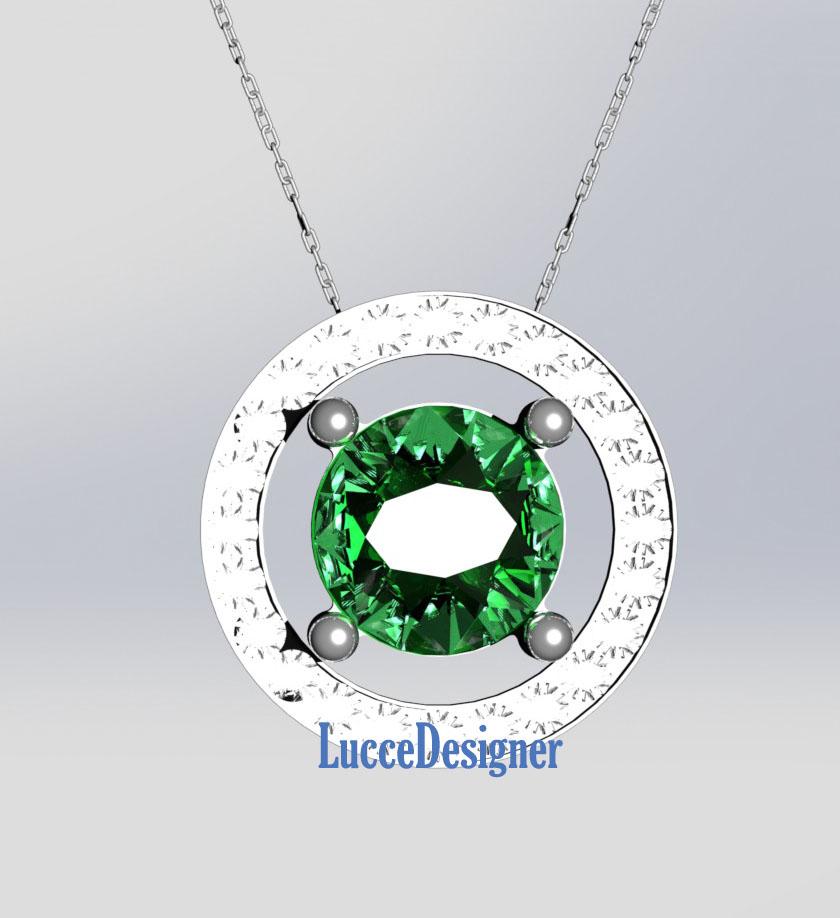 81be142c2d7bd Gargantilha de Ouro branco 18k com Esmeralda Redonda e 24 Diamantes ...